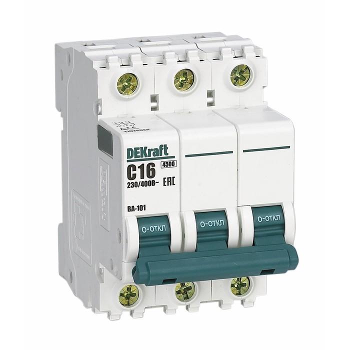 Выключатель автоматический DEKraft ВА-101, 3п, 10 А, х-ка С, 4.5 кА
