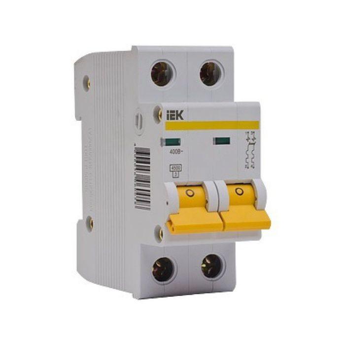 Выключатель автоматический IEK, двухполюсный, C 4 А, ВА 47-29, 4.5 кА, MVA20-2-004-C