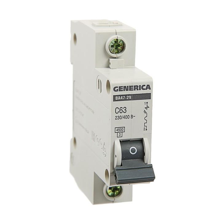 Выключатель автоматический IEK GENERICA ВА47-29, 1п, 63 А, 4.5 кА, хар-ка С