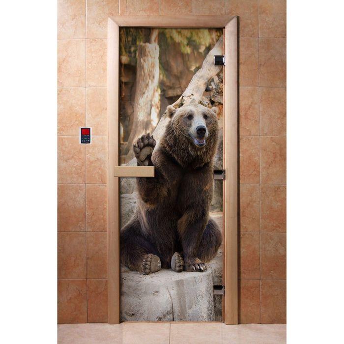 Дверь для бани и сауны стеклянная, 190×70см, 8мм, с фотопечатью, левое открывание