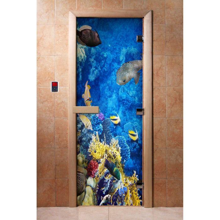 Дверь с фотопечатью, стекло 8 мм, размер коробки 190 × 70 см, левая, цвет А068