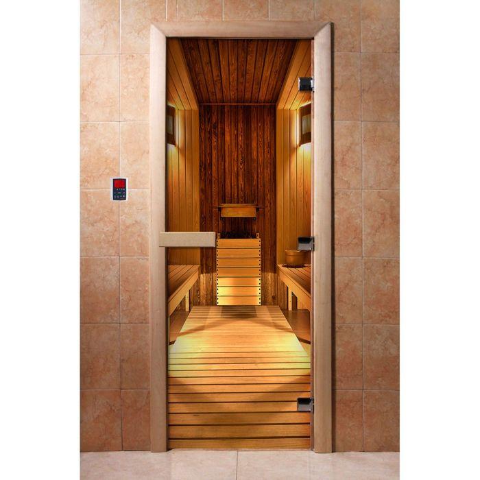 Дверь для бани и сауны стеклянная, 190×70см, 8мм, с фотопечатью