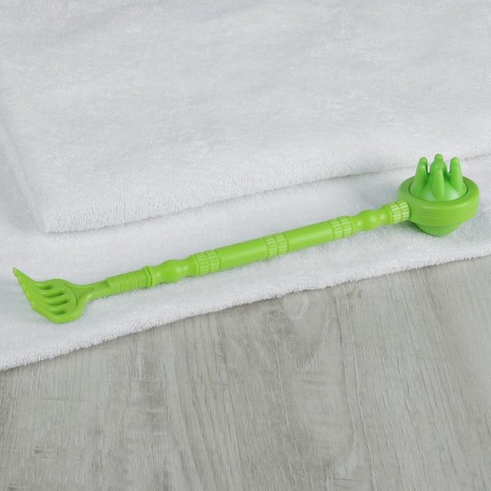 Чесалка двусторонняя, с массажёром, цвет зелёный