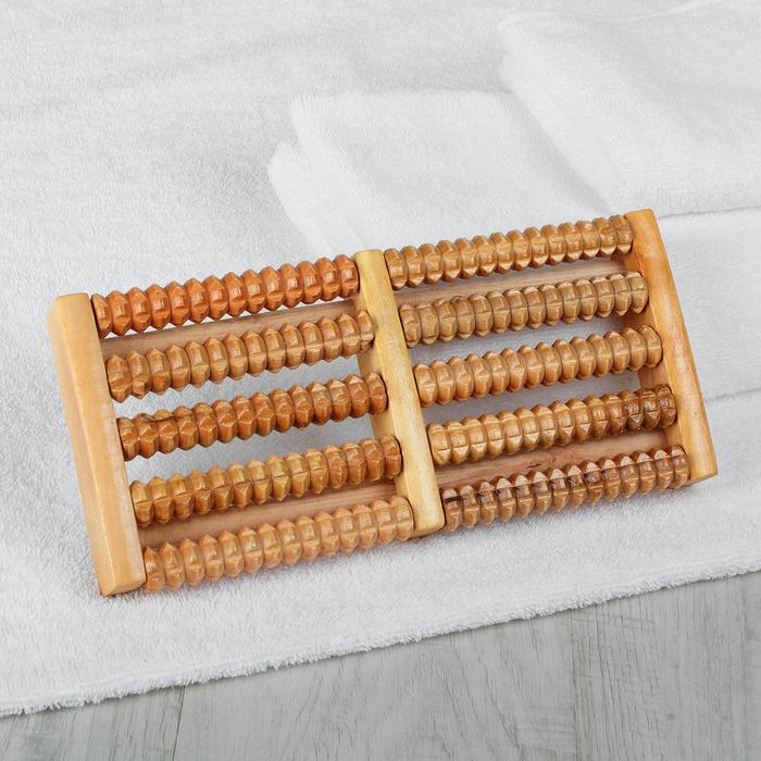 Массажёр «Барабаны», деревянный, 5 рядов