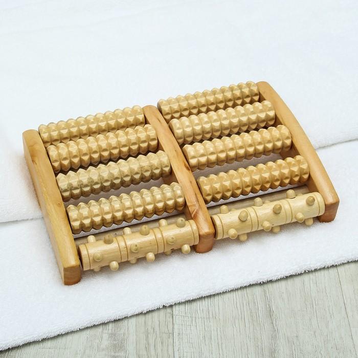 Массажёр «Барабаны», деревянный, 5 рядов с шипами