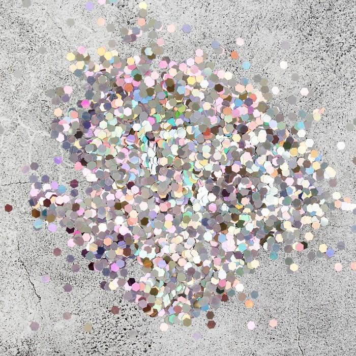Наполнитель для шара Шестиугольник серебро 0,3 см, набор 9 штук