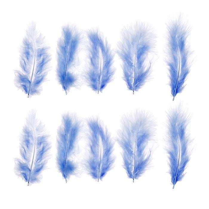 Набор перьев для декора 10 шт., размер 1 шт: 10 × 2 см, цвет голубой