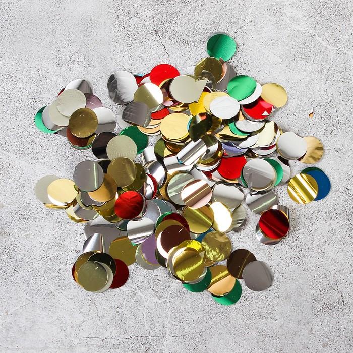 """Наполнитель для шара """"Конфетти круг"""" 1,5 см, фольга, цвет МИКС, 1000г"""