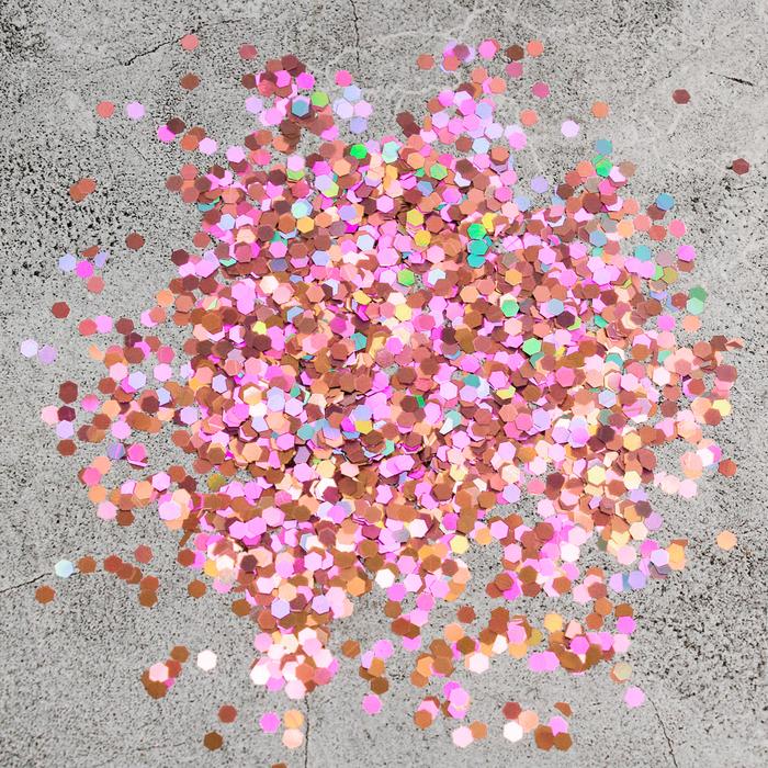Наполнитель для шара Шестиугольник розовое золото 0,3 см, набор 9 штук