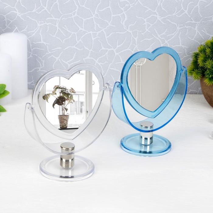 Зеркало настольное, двустороннее, с увеличением, зеркальная поверхность — 8,5 × 10 см, МИКС