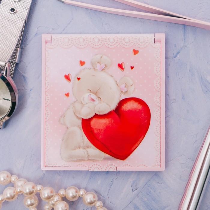 Зеркало складное «Мишка с сердечком»