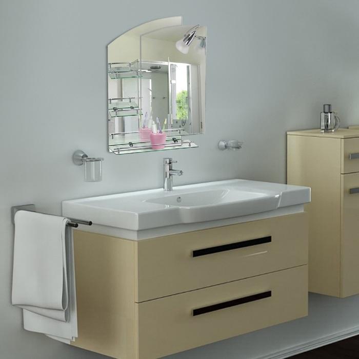Зеркало в ванную комнату, двухслойное 80×60 см Ассоona A613, 3 полки