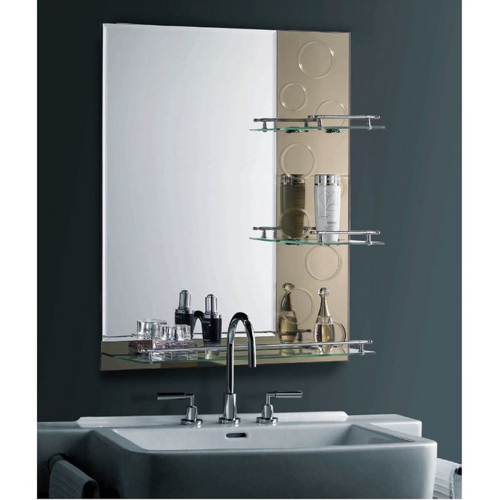 """Зеркало в ванную комнату, двухслойное 80×60 см """"Ассоona A622"""", 3 полки"""