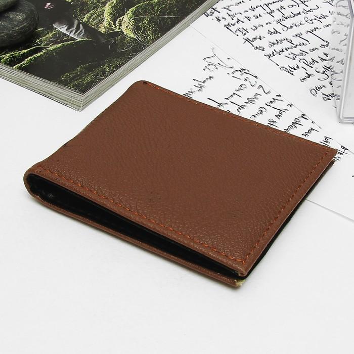 Портмоне мужское, 3 отдела, отдел для карт, цвет коричневый