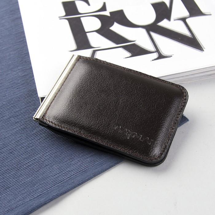 Зажим для купюр на магните, отдел для монет, цвет коричневый