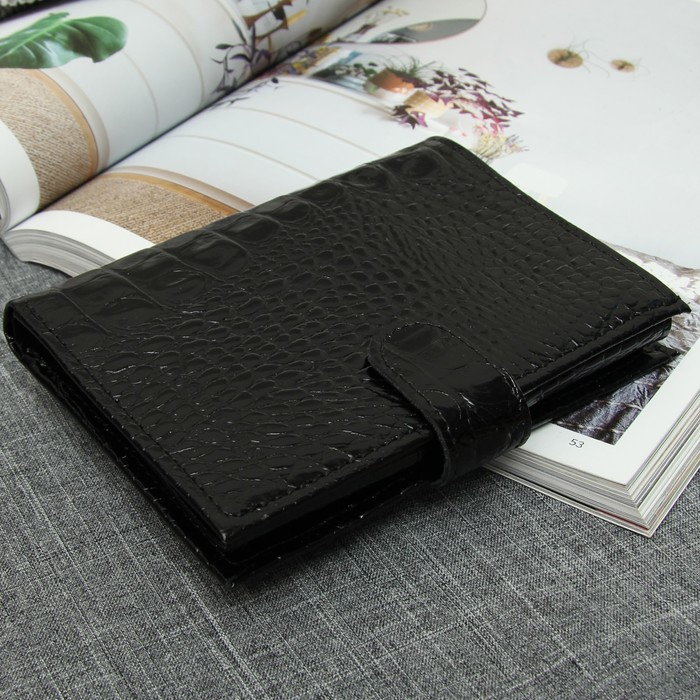 Портмоне (муж/жен) 3 в1, отдел для купюр, для карт, для монет, отдел для автодокументов+паспорта, цвет чёрный