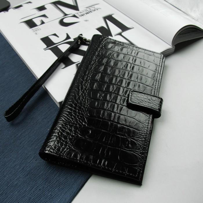 Портмоне мужское, 3 отдела, для карт, для монет, с ручкой, цвет чёрный