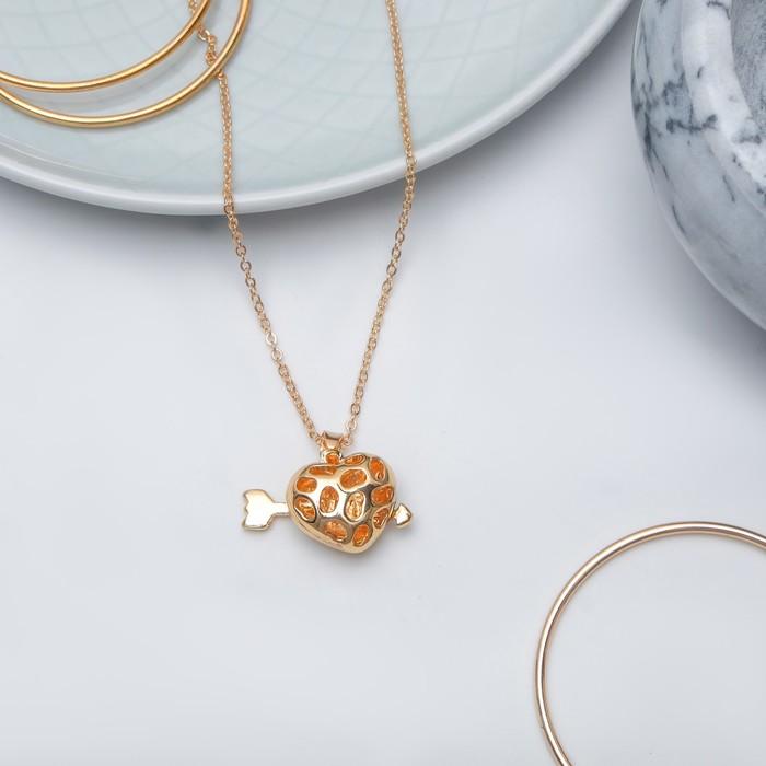 "Кулон ""Сердце"" амура, объёмное, цвет золото, 45 см"