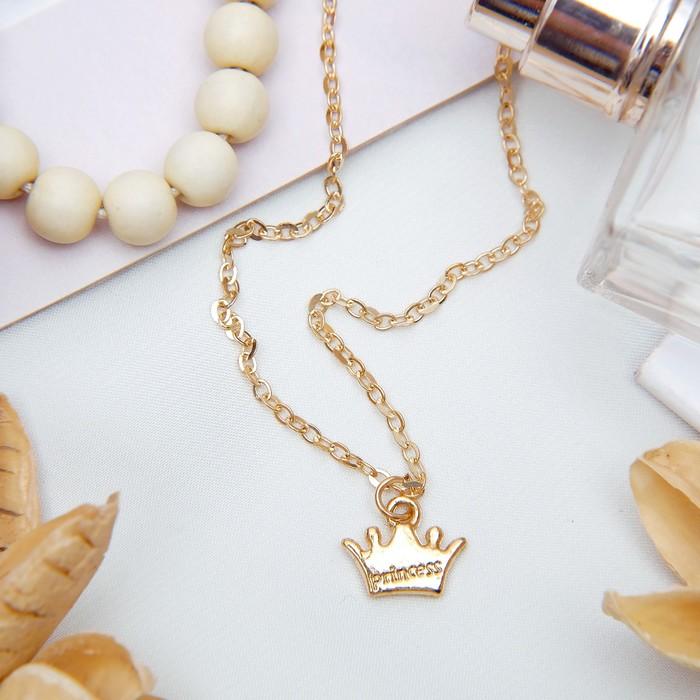"""Кулон """"Корона"""" принцессы, цвет золото, 45см"""