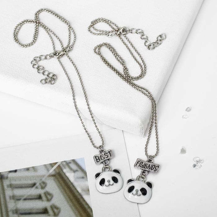 """Кулон """"Неразлучники"""" панды, цвет бело-чёрный в серебре, 45см"""