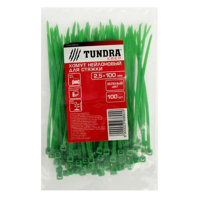 Хомут нейлоновый TUNDRA krep, для стяжки, 2.5х100 мм, зеленый, в упаковке 100 шт.