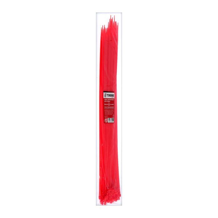 Хомут нейлоновый TUNDRA krep, для стяжки, 4.8х400 мм, цвет красный, в упаковке 100 шт.