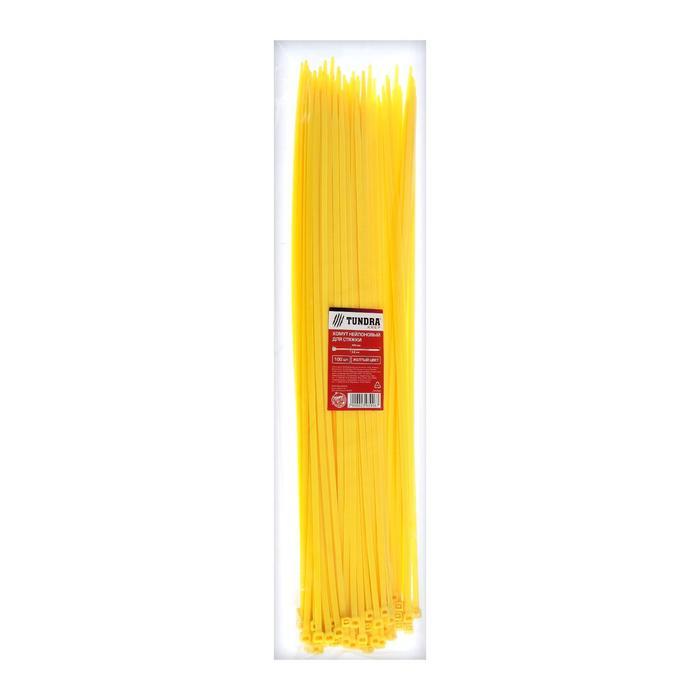 Хомут нейлоновый TUNDRA krep, для стяжки, 4.8х400 мм, цвет желтый, в упаковке 100 шт.