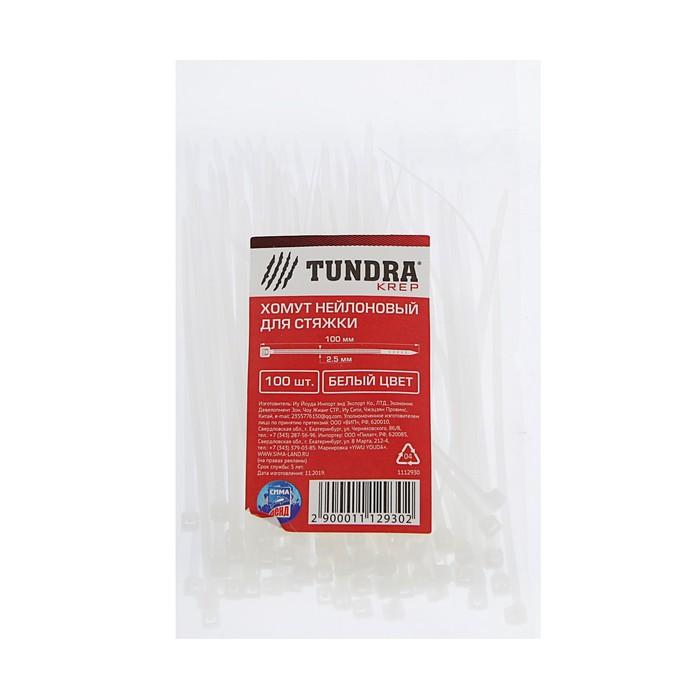 Хомут нейлоновый TUNDRA krep, для стяжки, 2.5 х 100 мм, белый, в упаковке 100 шт.