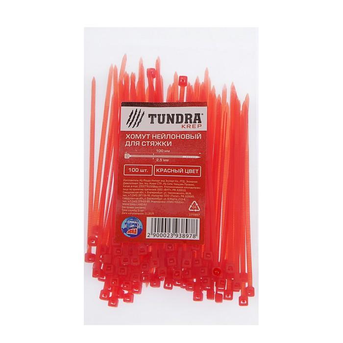 Хомут нейлоновый TUNDRA krep, для стяжки, 2.5х100 мм, цвет красный, в упаковке 100 шт.