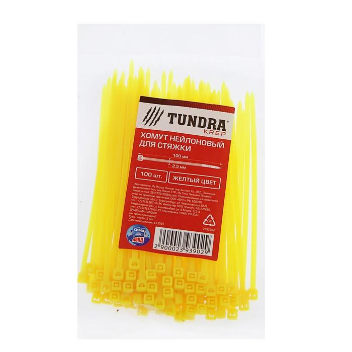 Хомут нейлоновый TUNDRA krep, для стяжки, 2.5х100 мм, цвет желтый, в упаковке 100 шт.