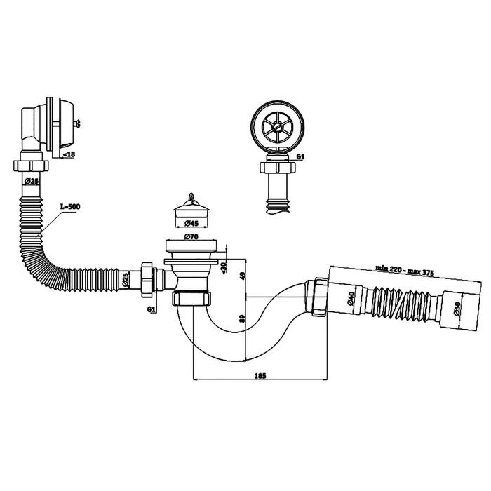"Комплект для ванны ""АНИ"" C6155: сифон, гибкая труба 40 х 50 мм"