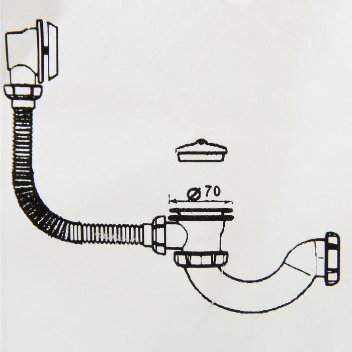 Сифон для ванны Aquant, с выпуском и переливом, с гибкой трубой 40х40/50 мм