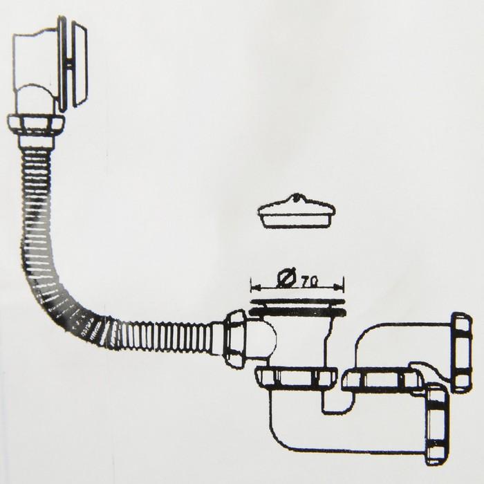 Сифон для ванны Aquant, с выпуском и переливом, регулируемый 40х40/50 мм
