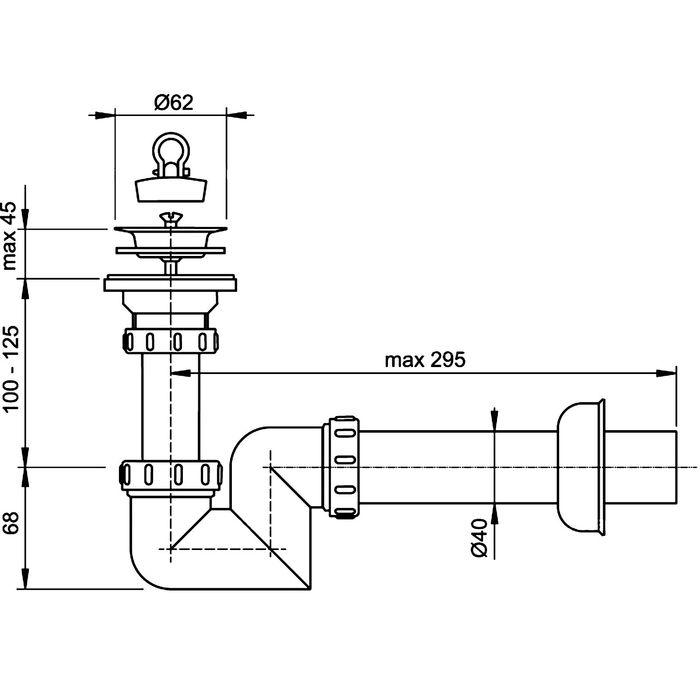 Сифон Alcaplast A412 «S», для умывальника, диаметр 40 мм, с нержавеющей peшёткой, диаметр 63 мм