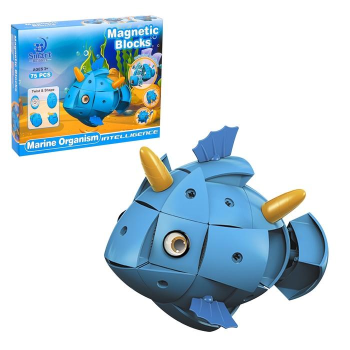 Конструктор магнитный «Морские животные», 72 детали