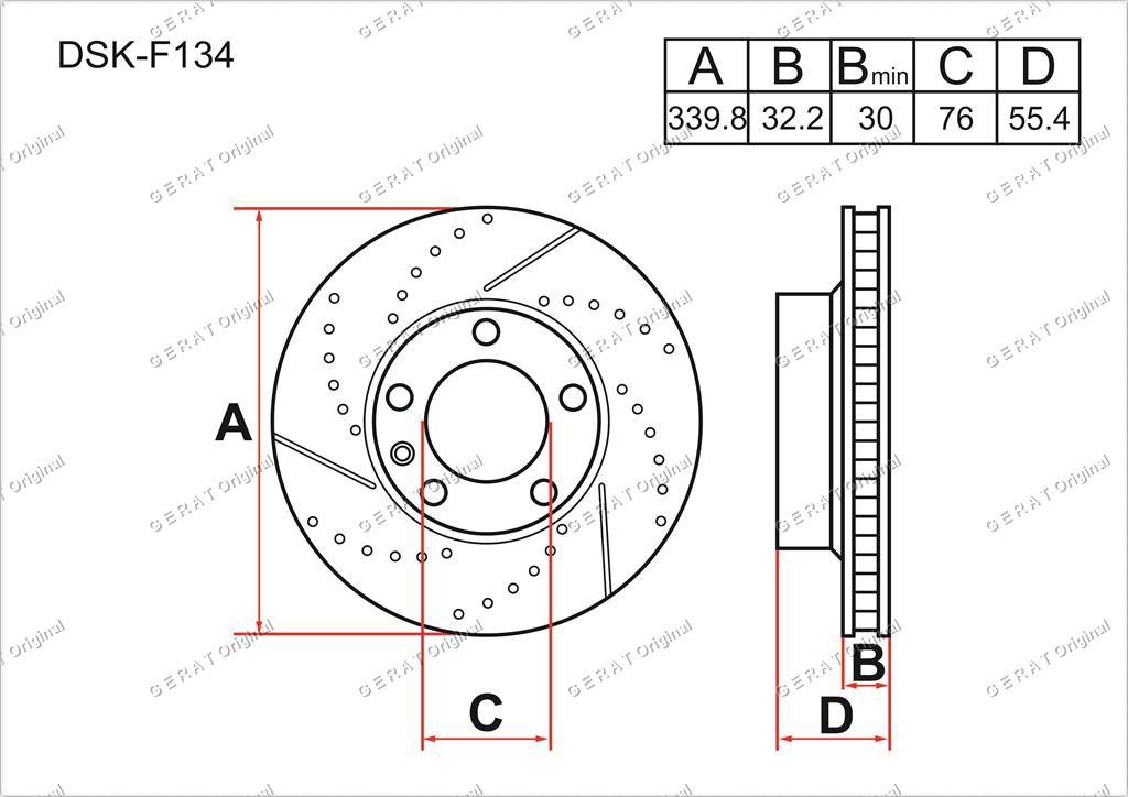 Тормозные диски Gerat DSK-F134