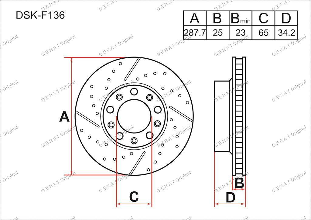 Тормозные диски Gerat DSK-F136