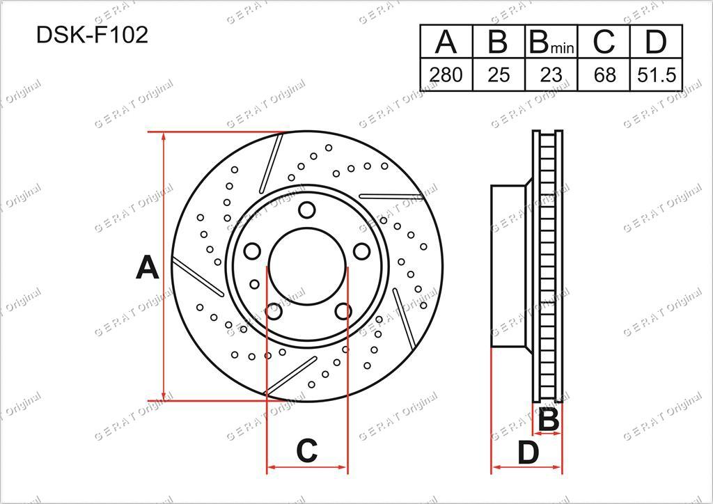 Тормозные диски Gerat DSK-F102