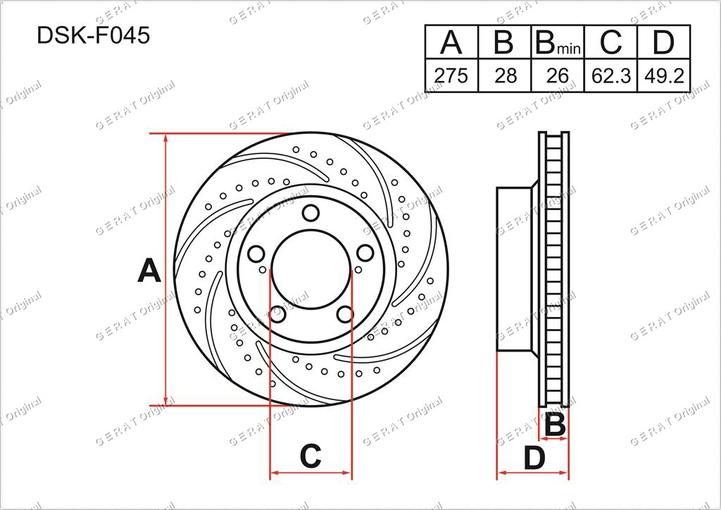Тормозные диски Gerat DSK-F045