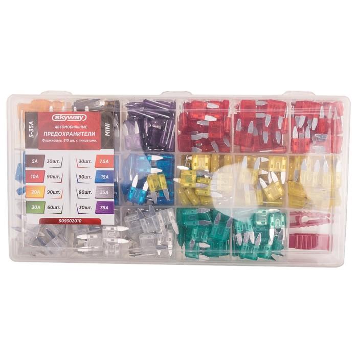 """Предохранитель флажковый SKYWAY, """"мини"""", 5-35А, в пластиковой коробке, набор 510шт."""