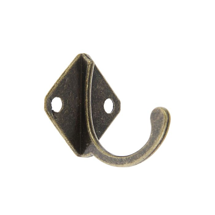 Крючок мебельный KM1001АВ, однорожковый, цвет бронза