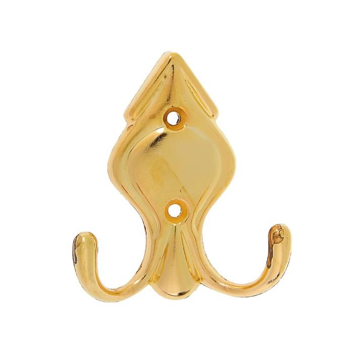 Крючок мебельный, КМ215GP, двухрожковый, цвет золото
