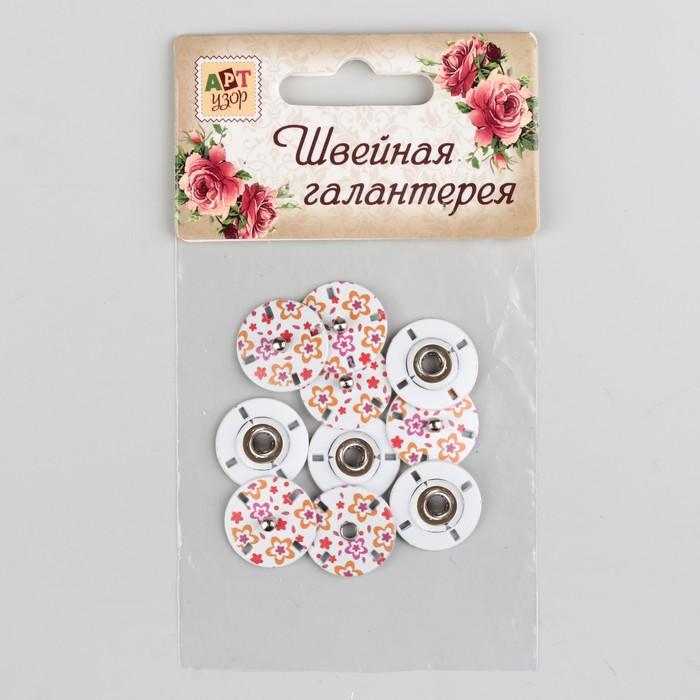 Кнопки пришивные декоративные «Цветы», d = 18 мм, 5 шт, цвет белый