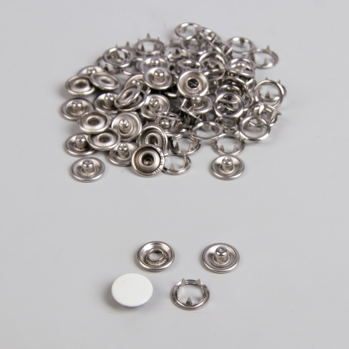 Кнопки рубашечные, закрытые, d = 9,5 мм, 1000 шт, цвет белый