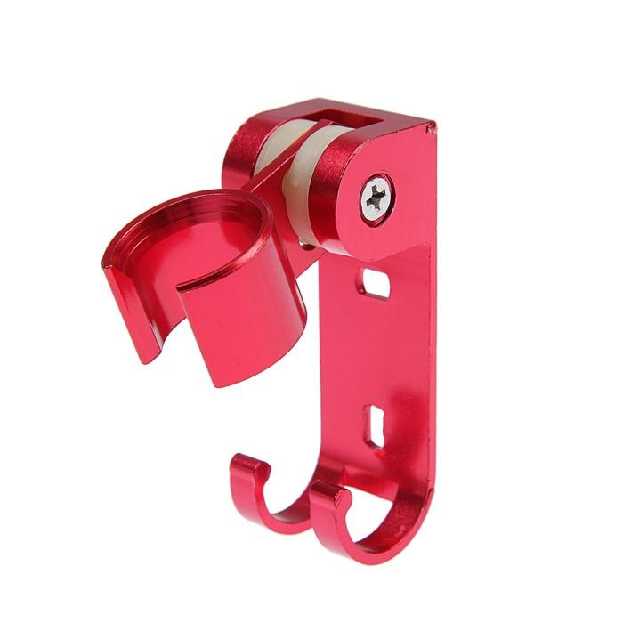 Держатель для душевой лейки, регулируемый с крючком, алюминий, красный