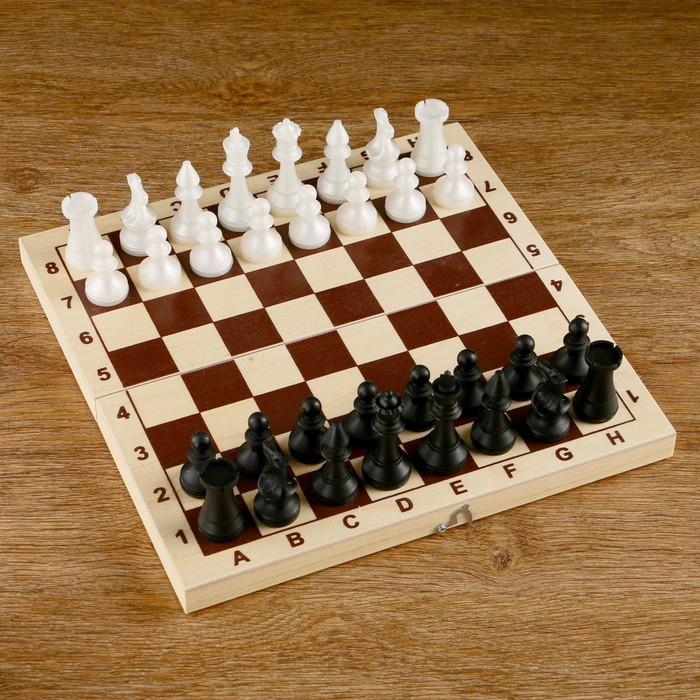 Шахматы (доска дерево 29х29 см, фигуры пластик, король h=7 см)