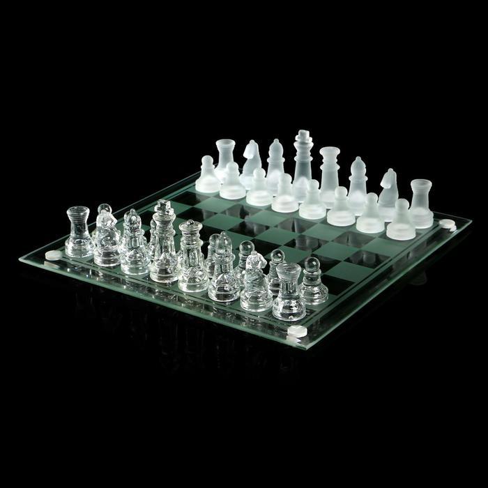 Шахматы настольные, стеклянная доска 24 × 24 см, прозрачная
