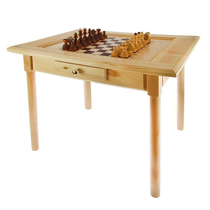 Шахматный стол с ящиком (80х69х76 см, игровое поле 36х36 см, король h=11.5 см)