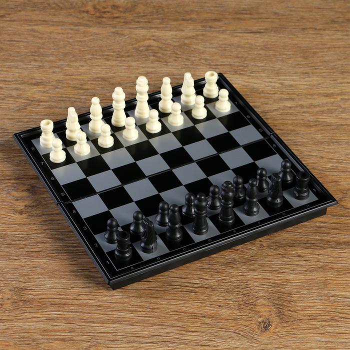 Шахматные фигуры, высота короля 3.8 см, пешки 1,9 см, пластик, чёрно-белые, в пакете