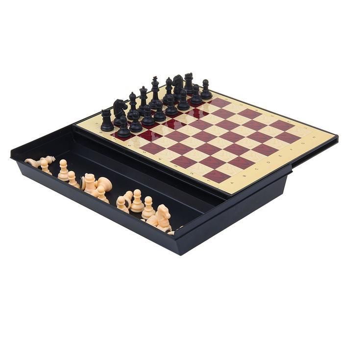 """Игра настольная """"Шахматы"""" с ящиком, магнитные в коробке 24х18 см"""